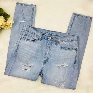 LEVIS 510 Distressed Light Wash Jeans Straight Leg